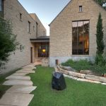 Design Footpath Made By Stone Grass Window Stone Wall Trees House Lamp Interesting Design Exterior