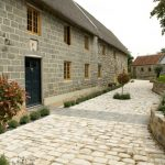 design footpath made by stone stone walls plants grass windows door roof traditional design stones