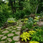 design footpath made by stone trees grass plants beautiful landscape greenery stone pathway exterior