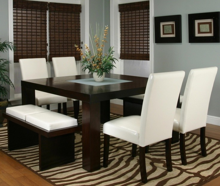 dining room sets with four white chairs, a dark wood bench with white cushion, dark wood parsons table