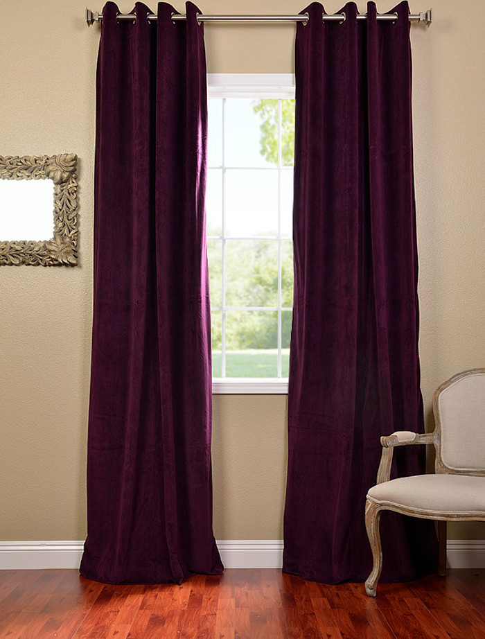 eggplant blackout window curtain in half way of installation victorian style chair darker wooden floors decorative mirror with textured frames