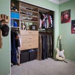 Fitted Walk In Closet Organizer Comfortable Grey Rug Green Interior Walls
