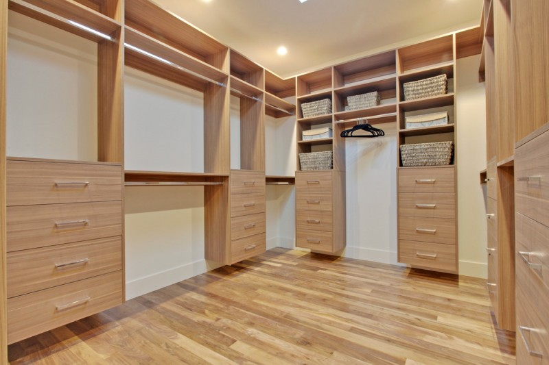Floating Cedar Made Walk In Closet Organizer Wooden Floor Idea