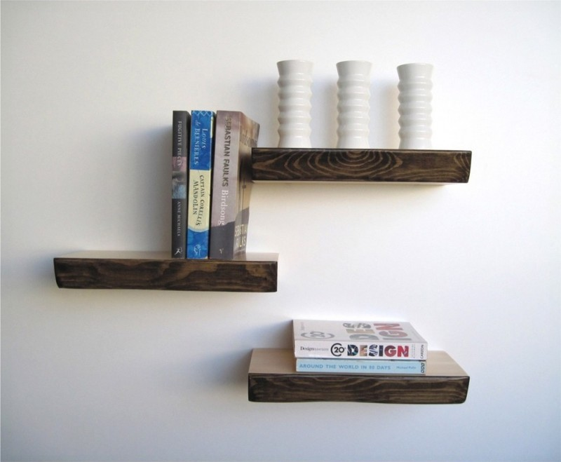 floating wall mounted book shelves from wood