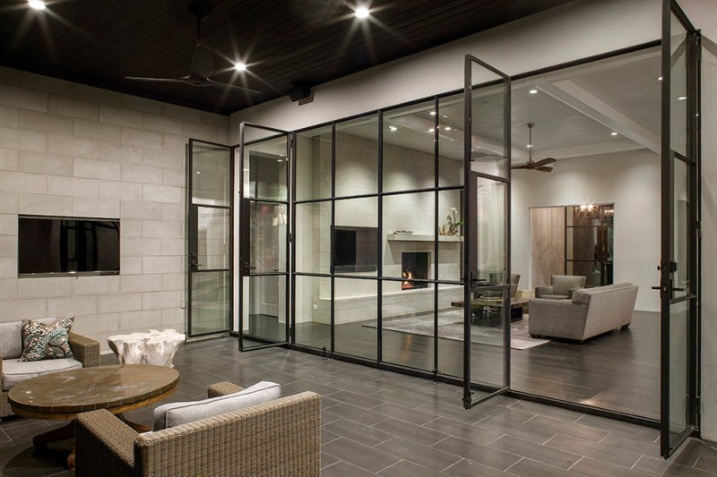 french glass swing door