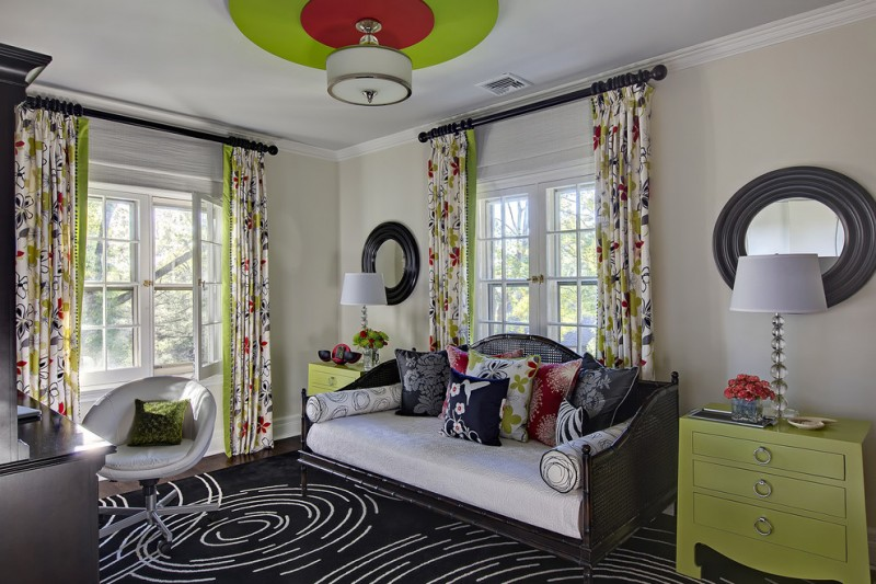full length half curtains in multiple colors black setee with white seater and accent pillows modern black rug with white accents movable bean chair in white green drawer system