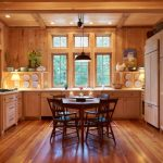 Full Wooden Kitchen Idea Wooden Cabinets Wooden Single Counter Additional Wood Storage Dark Wood Dining Furniture Medium Tone Wood Floors Wooden Roofs Glass Windows With Wood Frames And Details