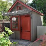 Gardening Shed With Red Door Ad Red Framed Glass Windows Vaulted Roof Grey Walls Grey Roofs