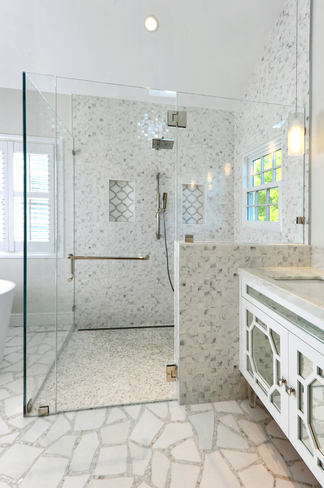 glass door walk in shower idea with contrast look floors and walls