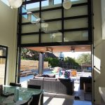 glass garage door black frame