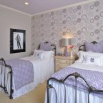 Glowing Purple Bed Sheet Idea With Texture Wrought Iron Bed With Headboard Wooden White Bedside Table Light Purple Wallpaper With Bubble Motifs Light Beige Floors