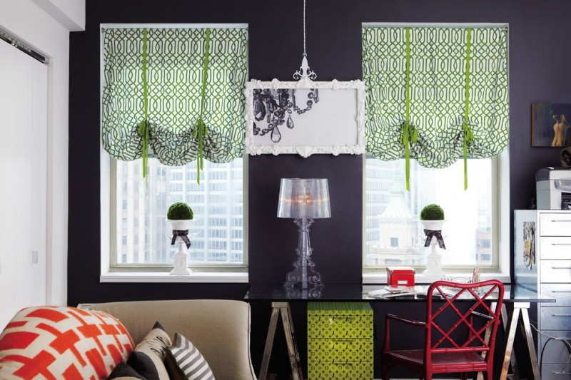 green half window curtains with modern motifs black walls mirror with decorative frame gothic themed table lamp black glass working table red chair white drawer system