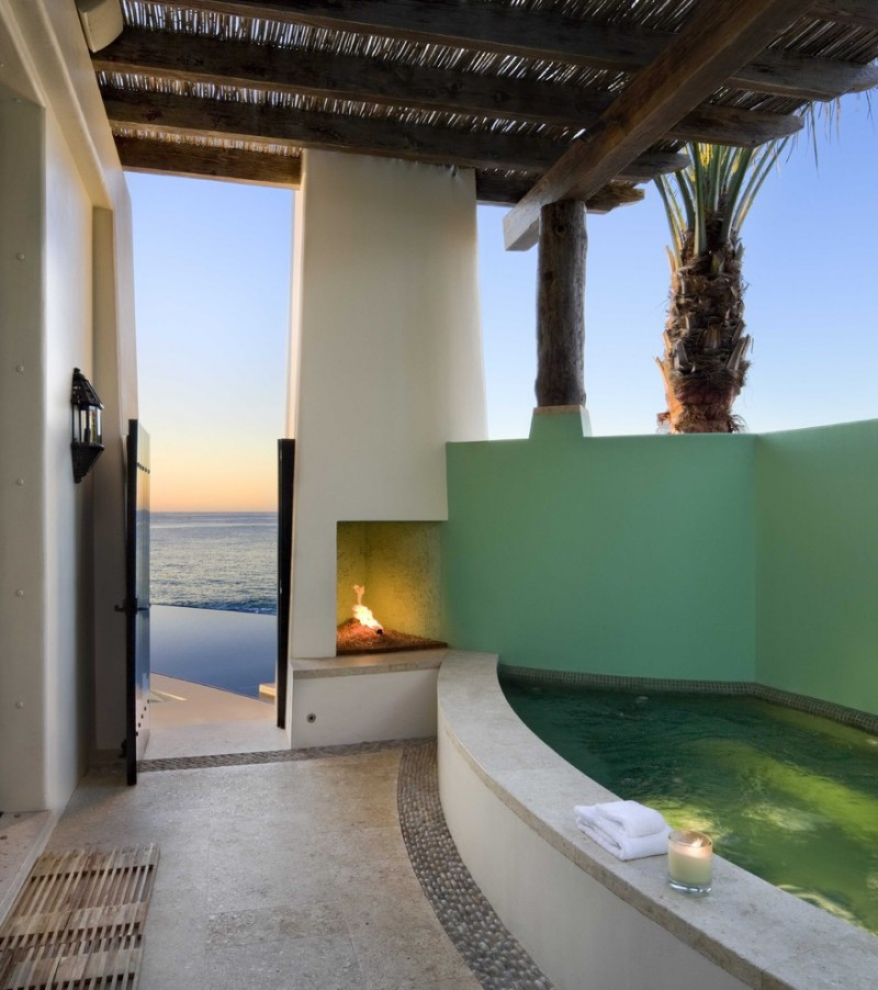 green wall to cover hot tub in green mosaic tiles