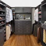 Grey Finishing Plywood Walk In Closet Idea With Full Features Wooden Flooring System