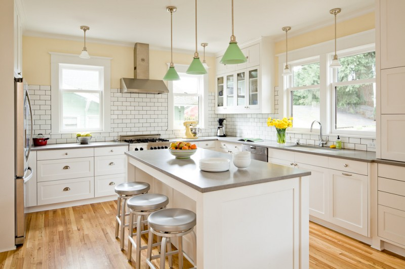 Beautiful Grey Quartz Countertop White Kitchen Wood Floor Dining Chairs Wall Tile  Hanging Lights Windows Comfy Dining