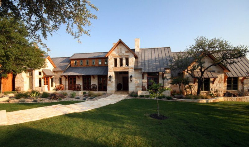 hill country house plans pathway stones roof grass wood windows door glass lamp chimney wheels two story house