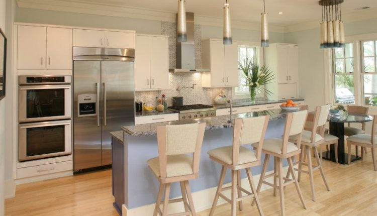 kitchen flooring bamboo tall dining chairs countertop storage wall cabinets ceiling lamp modern hanging lamps windows