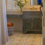 Lady's Bathroom Idea With Feminine Style Patterned Ceramic Tiles Floors Shabby Grey Vanity Cabinets Frameless Mirror Vanity Lamps