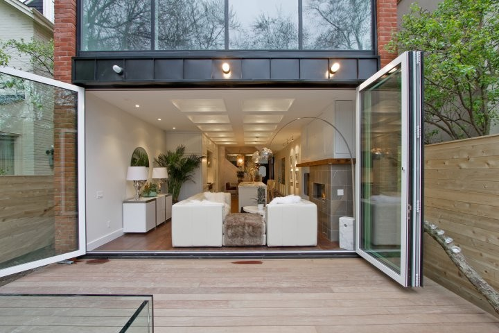 large bifold door white framed