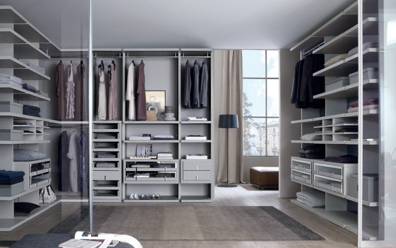 large grey walk in closet organizer for wardrobes light colored wooden floors
