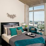 Light Yellow Bed Linen Textured Grey Blanket Turquoise Blanket Grey Light Yellow And Turquoise Pillows Bed Set With Black Headboard Turquoise Armchair Turquoise Table