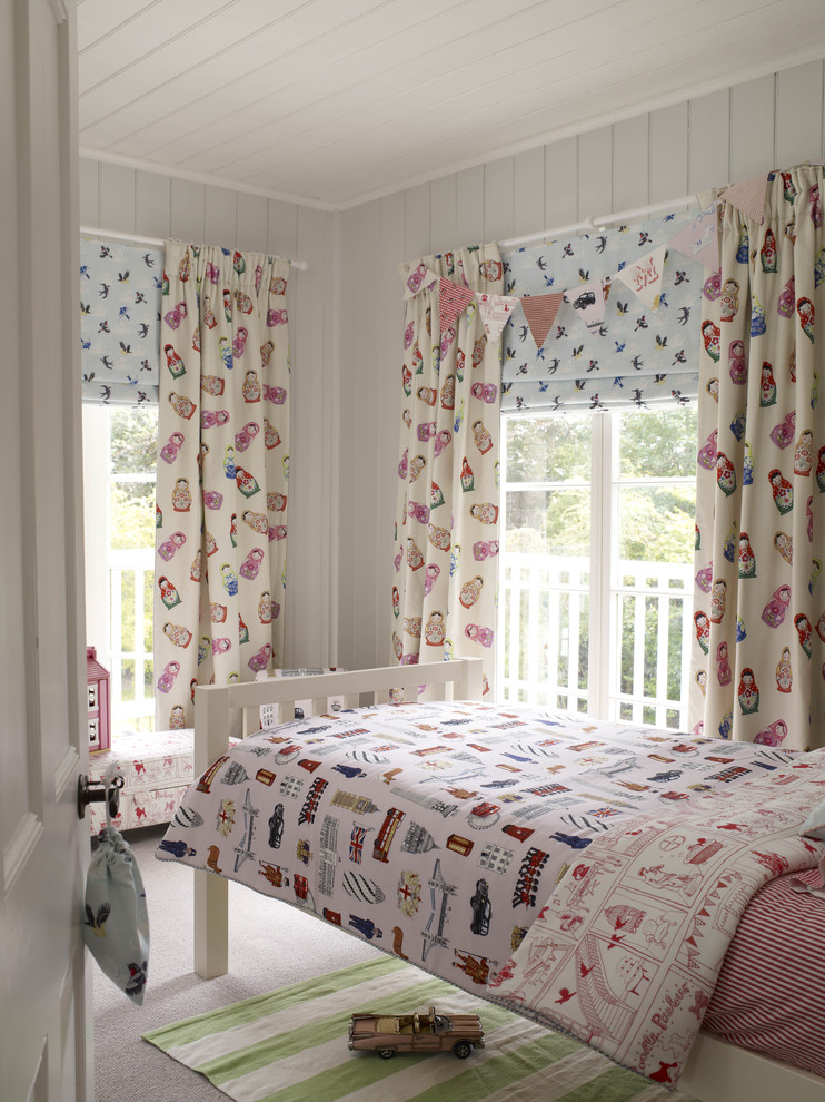 little kids' bedroom design with cute & sweet half curtains simple white bed with head and baseboard white siding walls and ceiling