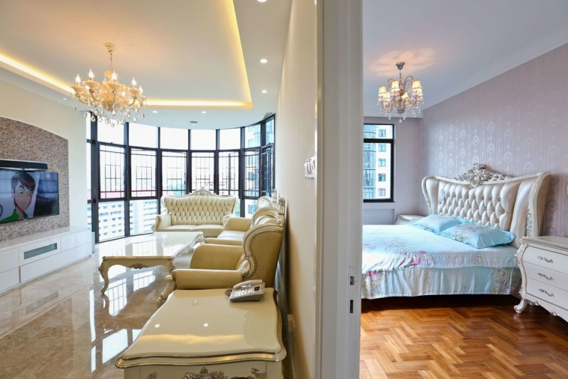 living room with white chairs, polished marble floor, white walls, chandelier, and bedroom with wood floor white king sie bed, chandelier, white emboss wallpaper