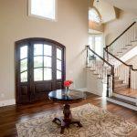 luxurious house door design carpet table chandelier stairs wooden floor pillar window flower door victorian style