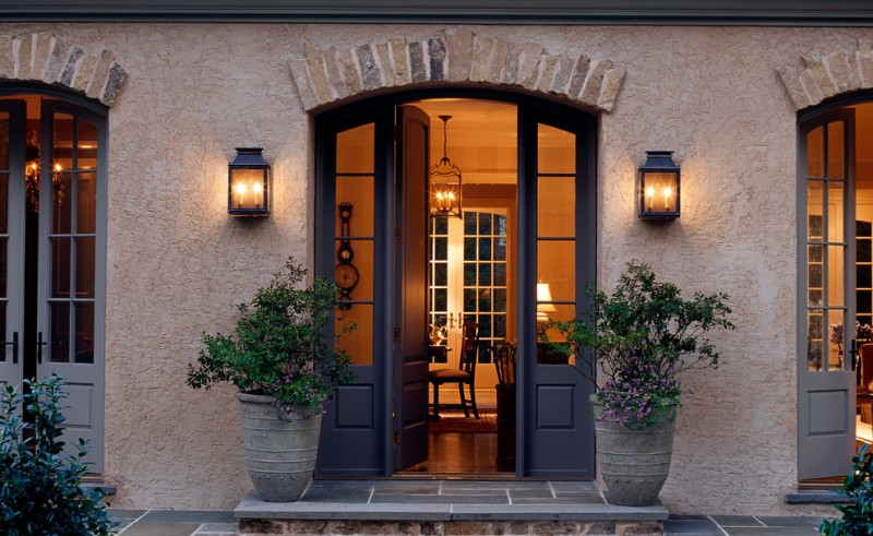 luxurious house door design flowers pots lamp glass windows chairs table clock lighting elegant luxurious design door
