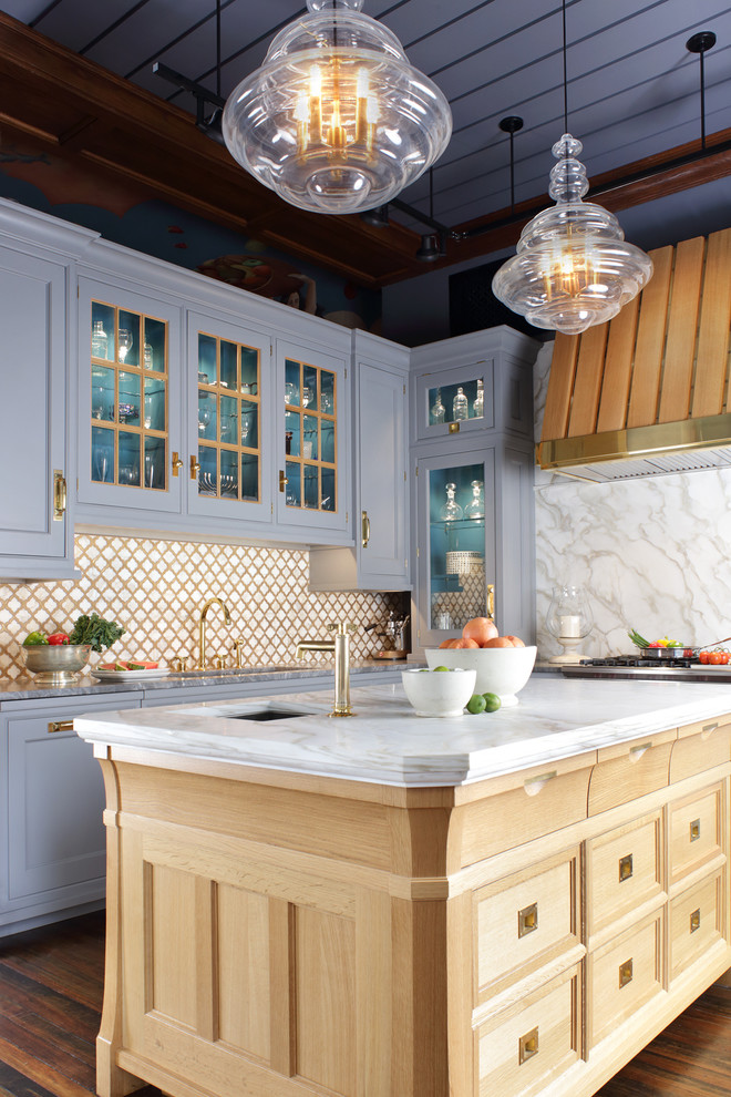 luxurious traditional kitchen design with white marble countertop wood kitchen island with white marble top purple lavender kitchen cabinetry diamond shaped tiles backsplash in white gold schemes