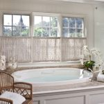Master Bath Room With Spa Tub Cafe Curtain With Bottom And Top Spring Rods Stylish Rattan Chair