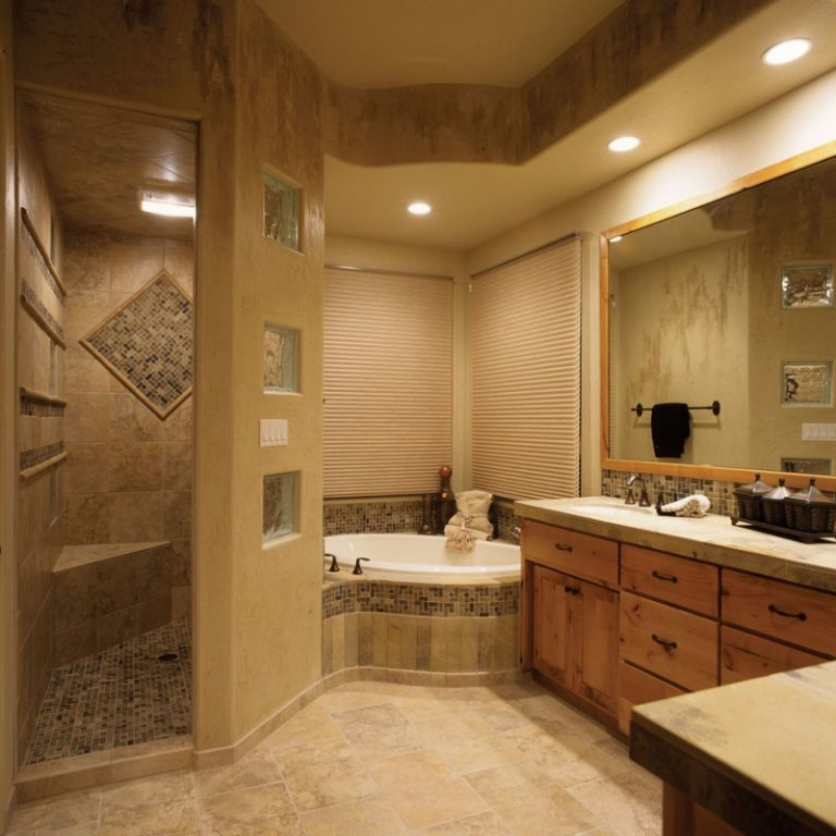 Door Solution For Open Master Bathroom: Walk In Shower Without Door For More Air And Light