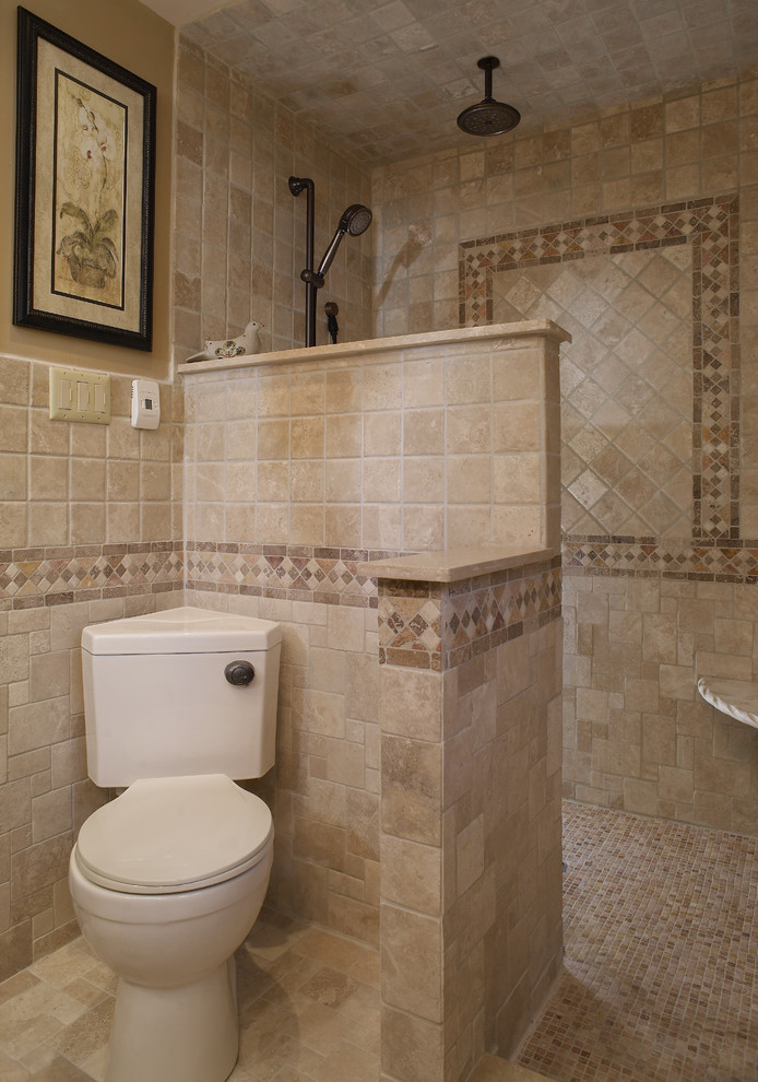 mediterranean bathroom with walk in showers without door with mosaic tiles, brown tiles wall matched with toilet area