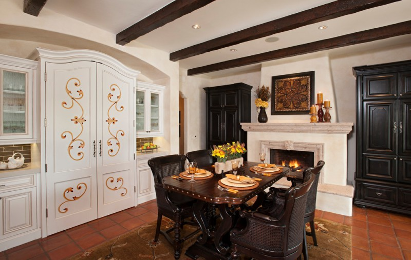 mediterranean dining room with wooden floor, white ceiling with wooden beam, wooden table set, white cupboard