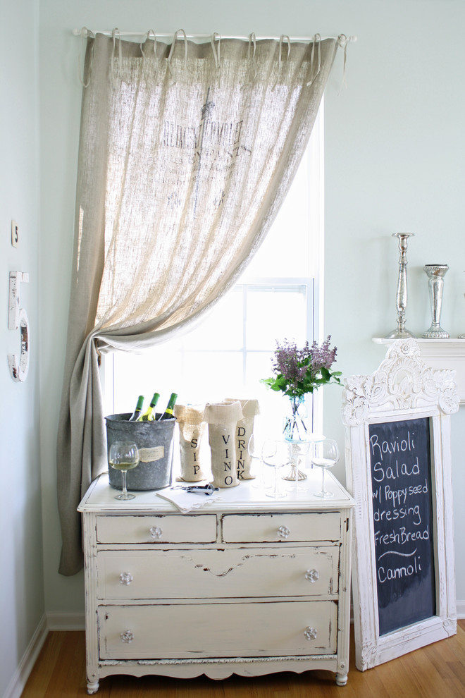 mini bar counter idea in vintage style chalboard menu display with white frame light blue wall system