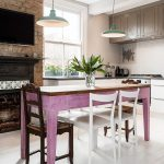 Mix Country Rustic Kitchen Idea With Shabby Purple Dining Table White Dining Chairs Dark Wood Upper Cabinets White Lower Cabinets White Subway Tiles Backsplash