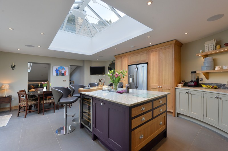 mix modern farmhouse kitchen design purple kitchen island with marble top marble countertop light grey cabinets open shelves made of wood
