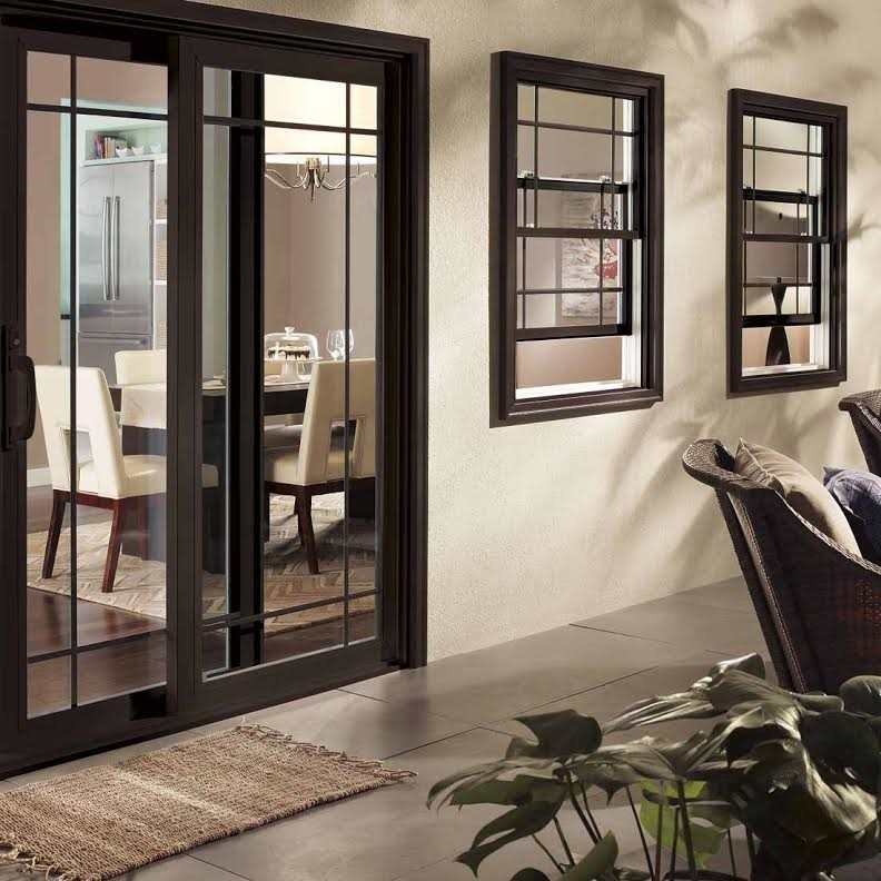 modern glass sliding door black frame