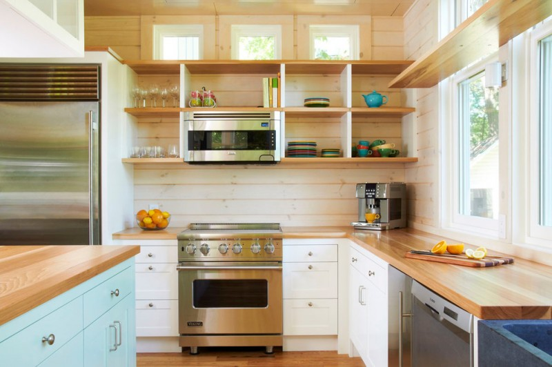 modern white horizontal wood paneling in kitchen