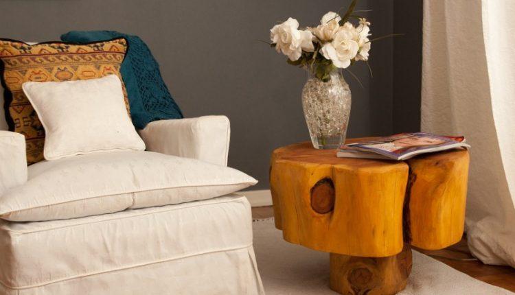 mushroom side table from brown wood