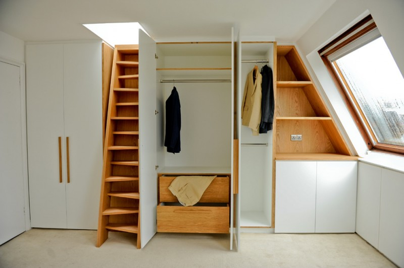 odd but cool closet organizer in attic