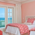 Pink Walls White Bed Linen Bold Pink Comforter With Motifs White Bed With Sponge Look Headboard White Curtains