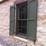 Pull Up Window With Exterior Hard Metal Shutter Additions In Dark Green