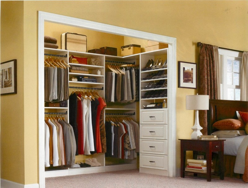 recessed walk in closet organizer in bedroom