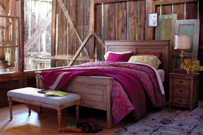 reclaimed wood bedroom idea with deep purple bed sheet & shams pine made bed pine bed island with grey seater grey area rug with motif pine bedside table with drawer system