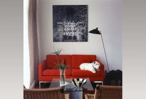 red upholstered sofa with cushion, and rattan chairs, and dark glass coffee table