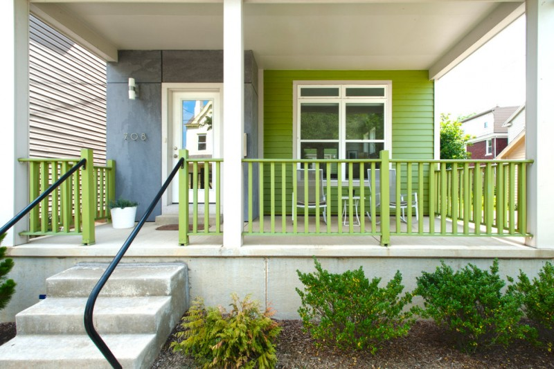 refreshing green railings idea with black metal handling rails for front steps green blue exterior home idea with mirror glass door entrance and glass exterior windows
