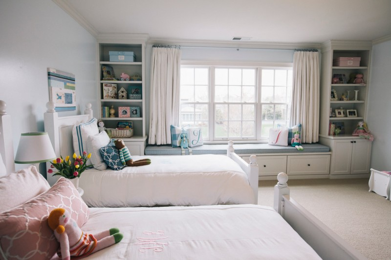 room decor with toy beds bench pillows wall decor shelves toys cabinets windows curtains ligt color