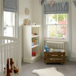 room decor with toy box carpet window curtain decor doll glass clock shelves toys light colors