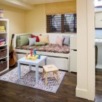 Room Decor With Toy Carpet Table Toy Pillows Window Wood Floor Baskets Shelves Mirror Kids Room